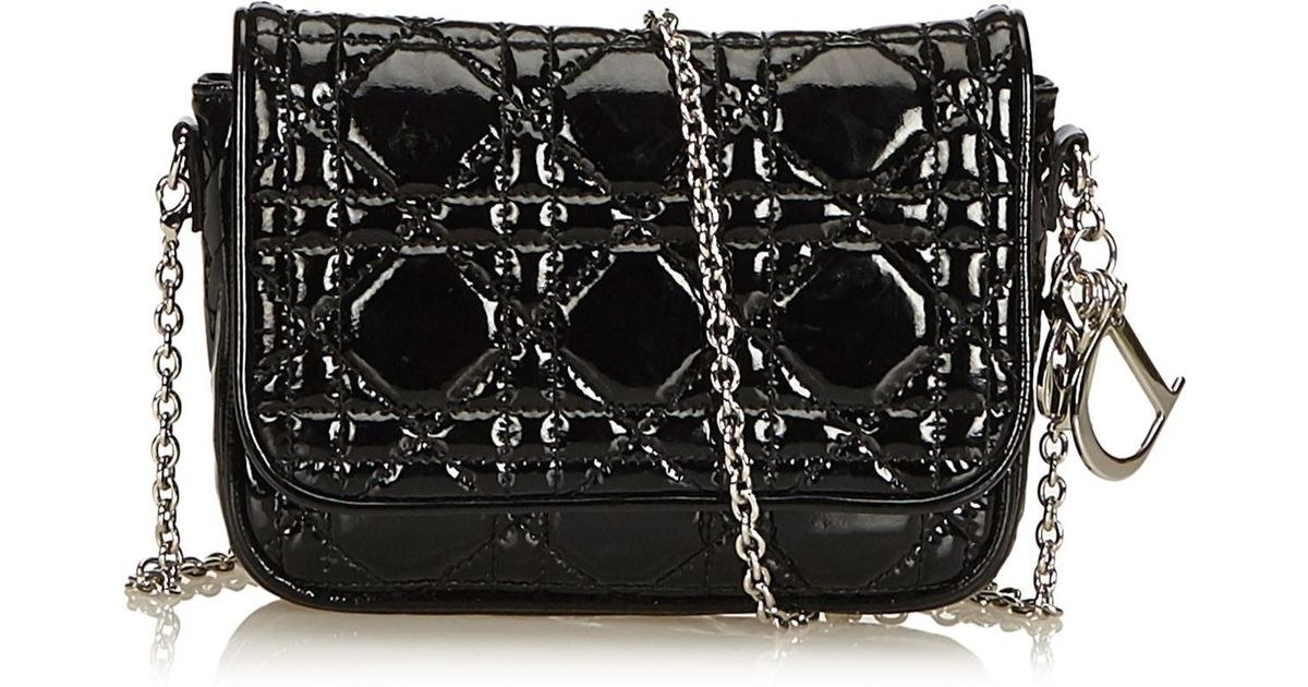 61b662ad9a35 Lyst - Dior Cannage Patent Leather Crossbody Bag in Black