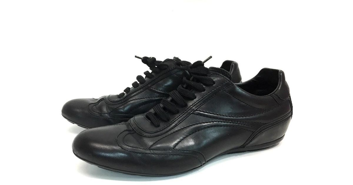 7190becad17b Lyst - Louis Vuitton Men s Shoes All Leather Sneakers Black Leather in Black  for Men
