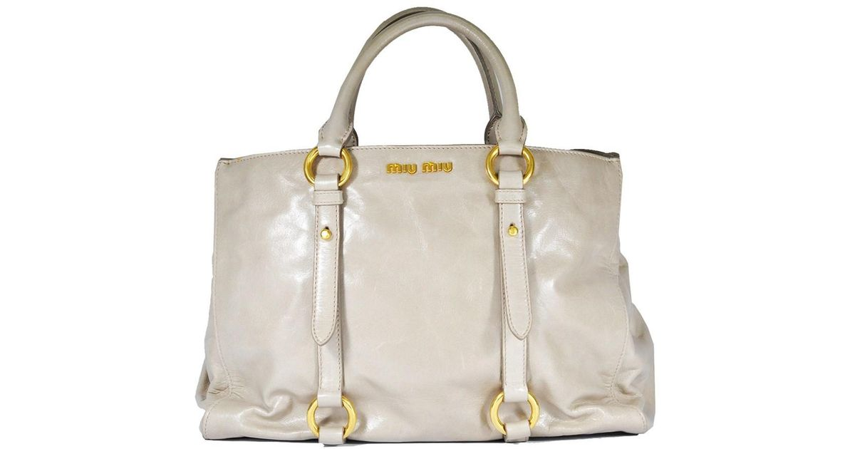 35521411e882 Lyst - Miu Miu Rn1037 Vitello Shine Shopping Bag In Pomice in Gray