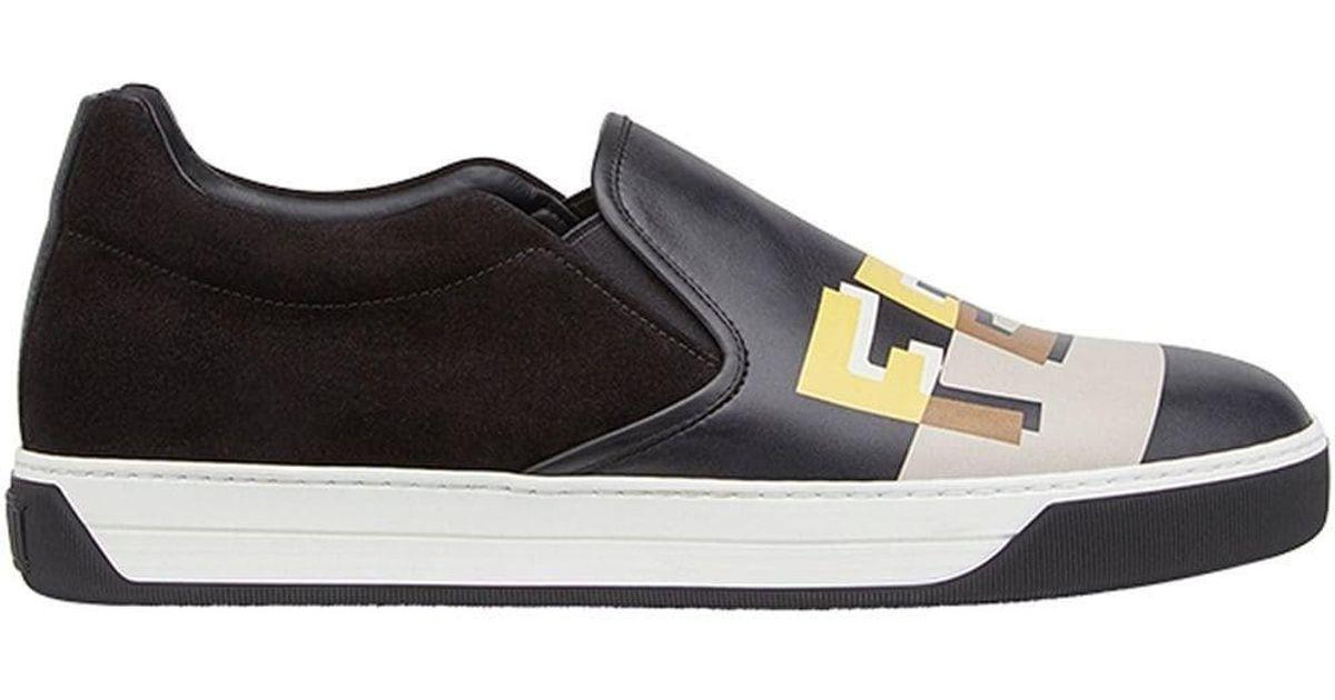 22606895c6 Fendi - Men's 7e1113a0u2f09jc Black Leather Slip On Sneakers for Men - Lyst