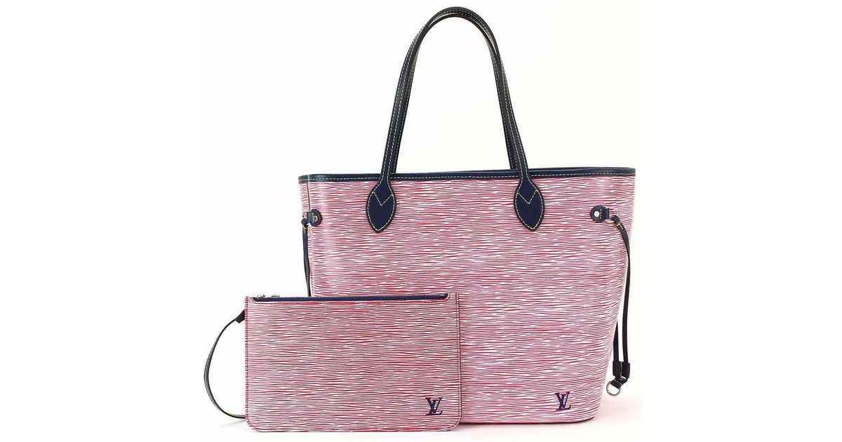 36d7100e11b6 Lyst - Louis Vuitton Epi Denim Neverfull Mm Tote Bag Rouge M54546  90041096.. in Pink
