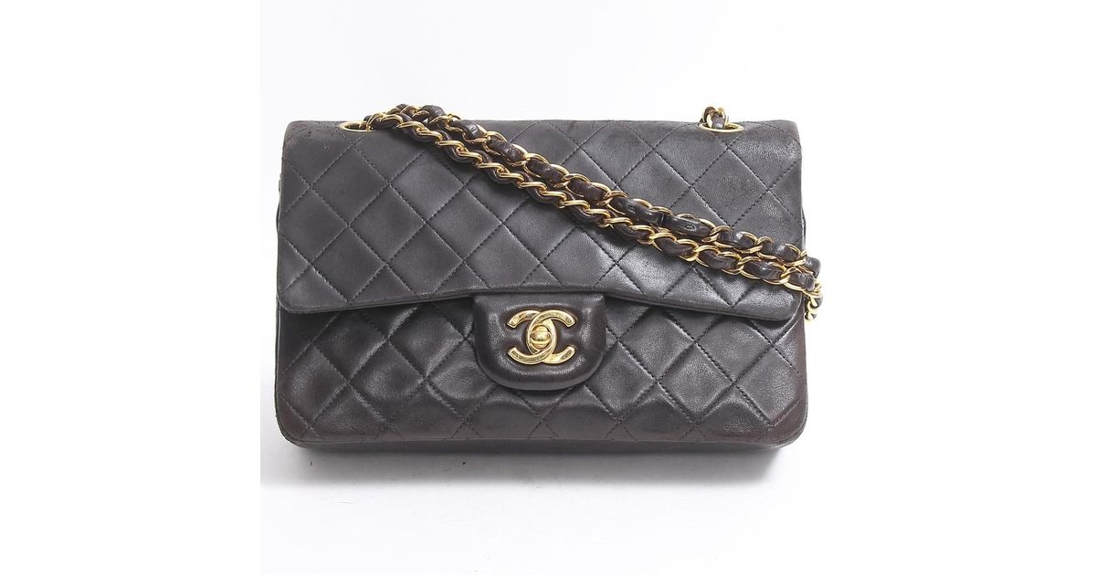 5ce391951d0b Lyst - Chanel Matelasse W Flap Chain Shoulder Bag Lambskin Leather Black  Used Vintage in Black