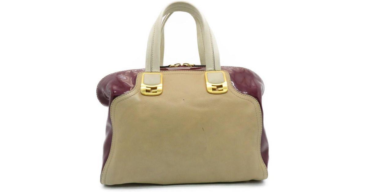 eeb8fb2c1e9f Lyst - Fendi Chameleon 2 Way Shoulder Bag Calfskin Leather Brown  Wine Red