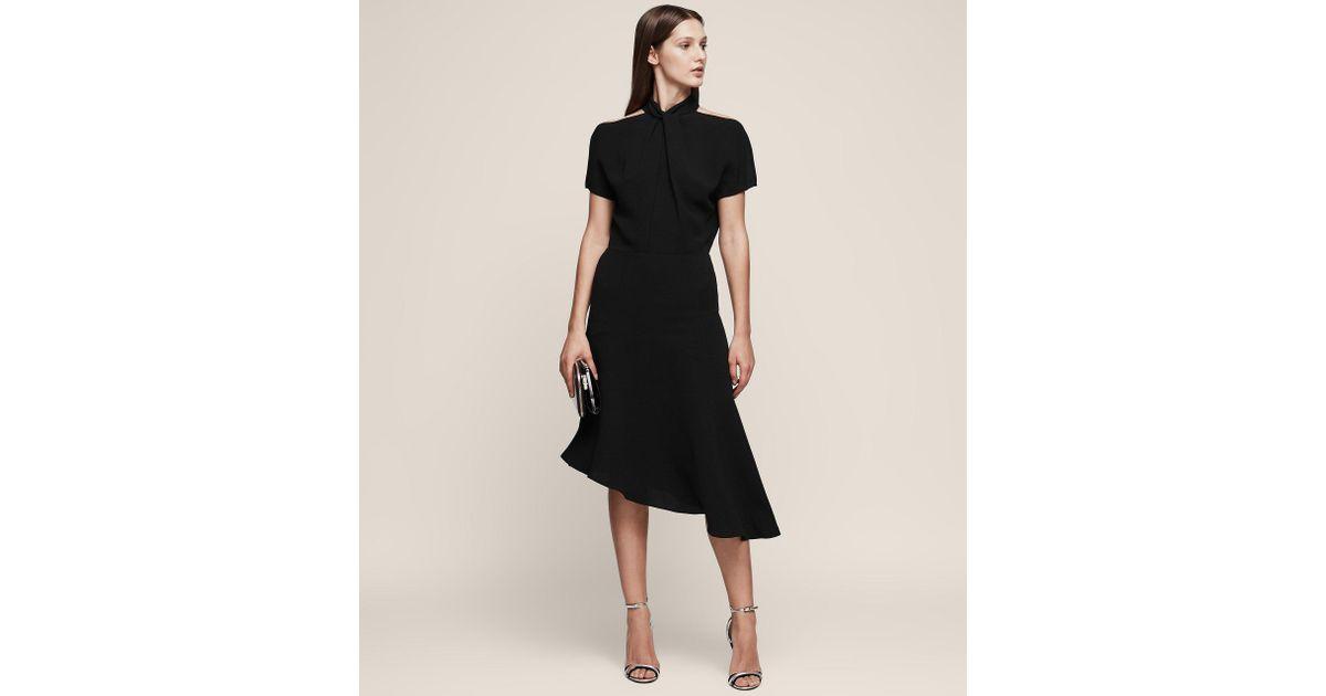 Lyst Reiss Zinc Halterneck Midi Dress In Black