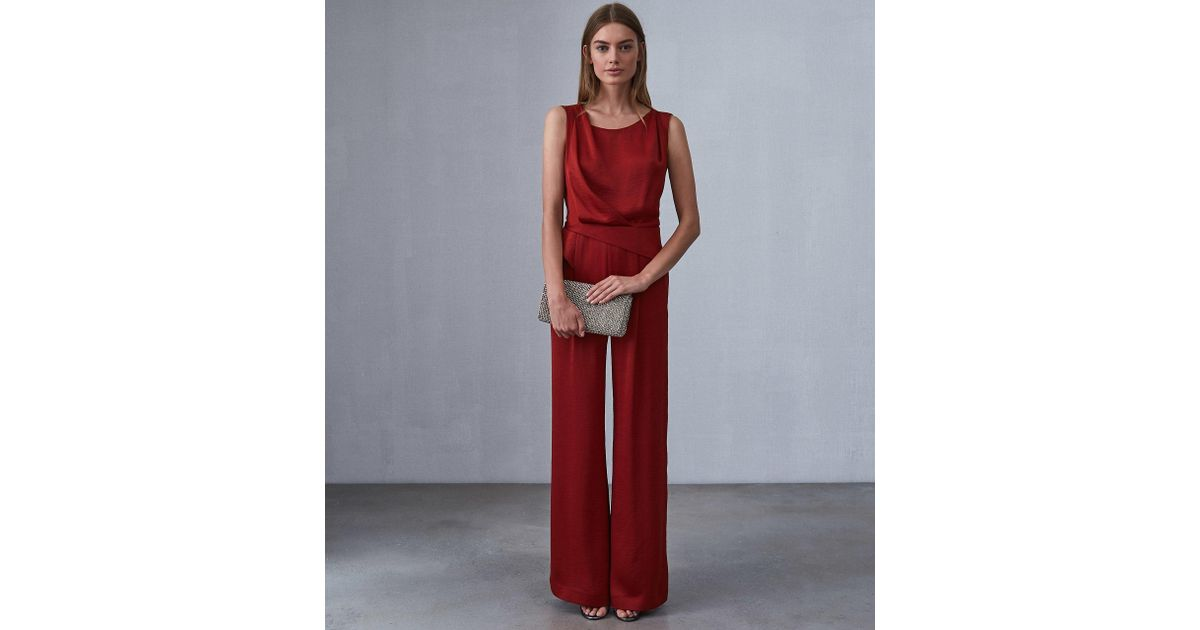 b9d6b99929d Reiss Benita - Low Back Detail Jumpsuit in Red - Save 73% - Lyst