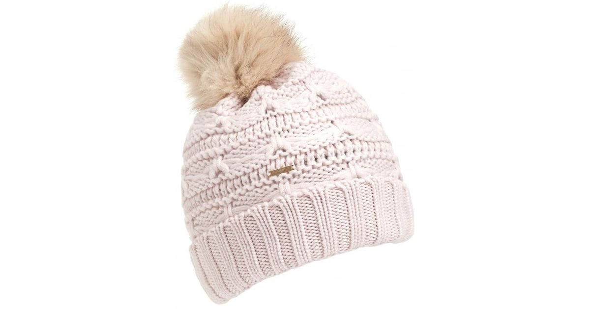53e652de25770 Lyst - Woolrich Serenity Cable Knit Pompom White Hat in White