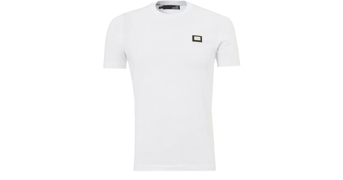 7c24907a787c Lyst - Love Moschino Plain Badge T-shirt, Slim Fit White Tee in White for  Men