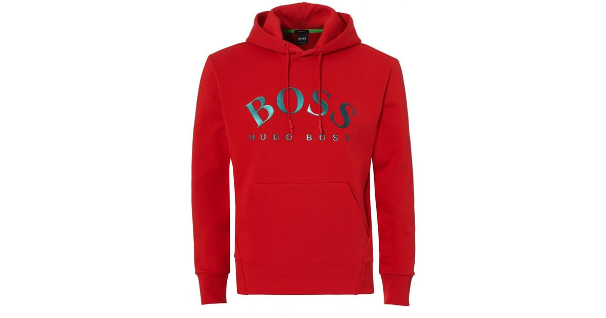 bbac2fe2 BOSS Sly Sweat, Overhead Red Hoodie in Red for Men - Lyst