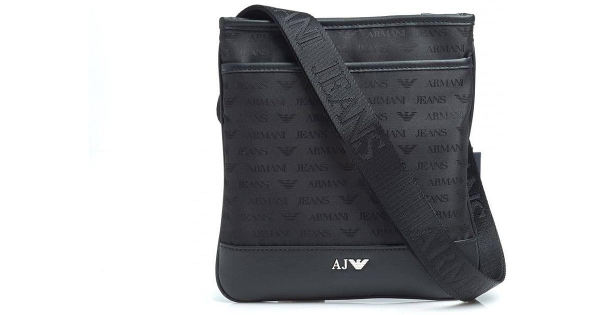 8ba019c320e Armani Jeans Black Small All Over Logo Stash Shoulder Bag in Black for Men  - Lyst