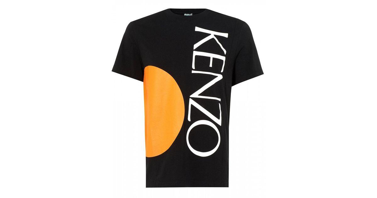 b535320639 KENZO Square Logo T-shirt, Orange Circle Black Tee for men