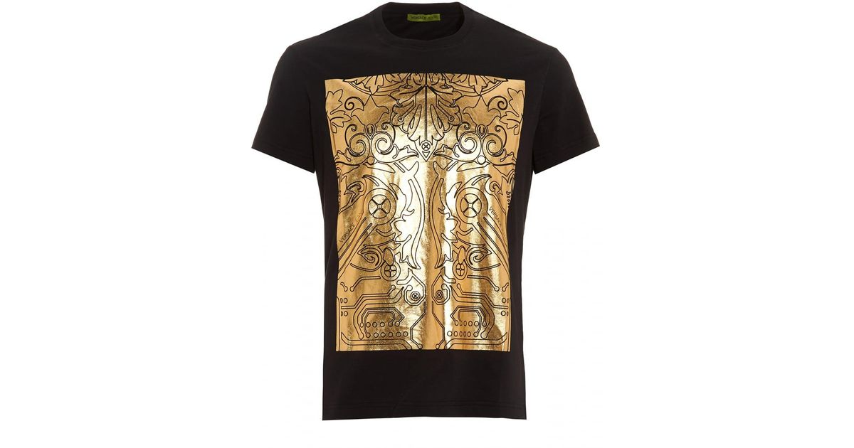 37f4e6f8 Versace Jeans Black T-shirt, Regular Fit Gold Foil Digital Baroque Tee in  Black for Men - Lyst