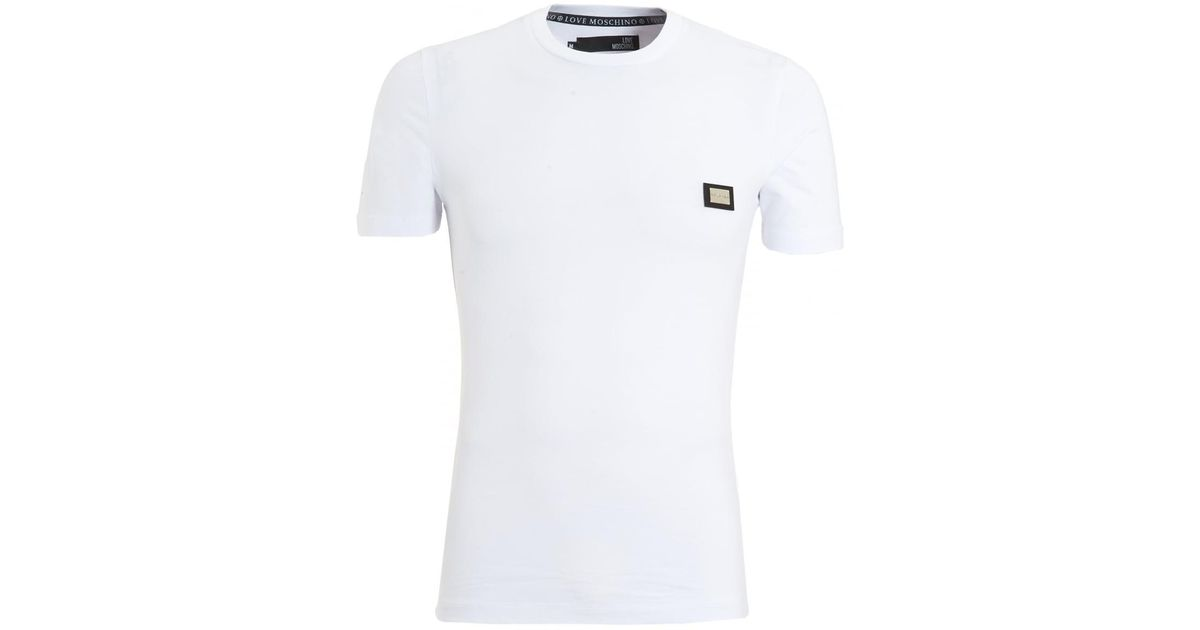 ad18ce3a1ac5 Love Moschino Metal Badge T-shirt, Slim Fit White Tee in White for Men -  Lyst