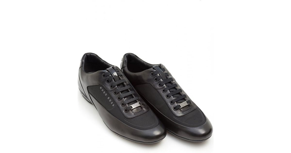 classic chic value for money get online BOSS Black Hb Racing Trainers, Leather Racing Black Sneakers for men