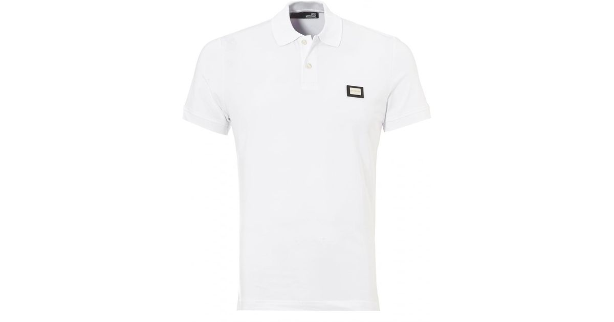 93fc169f1 Lyst - Love Moschino Plain Badge Polo Shirt, White Slim Fit Polo in White  for Men