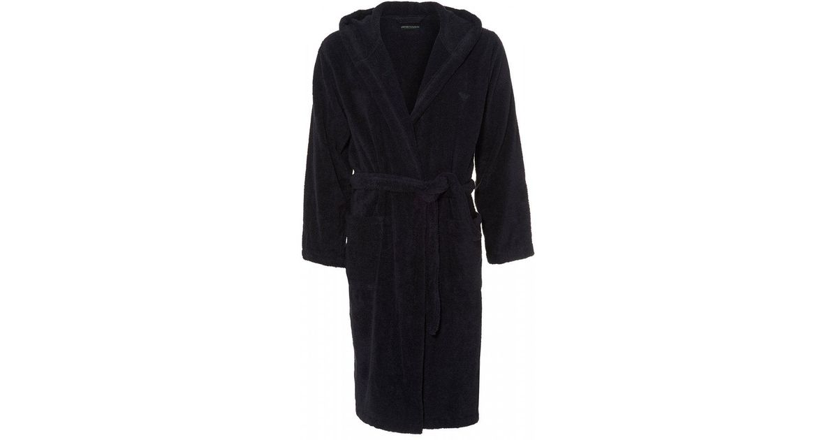 Lyst - Emporio Armani Eagle Logo Navy Blue Hooded Robe in Blue for Men d1c199523