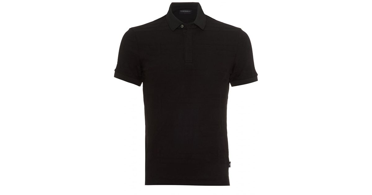 0083dede Emporio Armani All Over Partial Eagle Print Polo Shirt, Slim Fit Black Polo  in Black for Men - Lyst