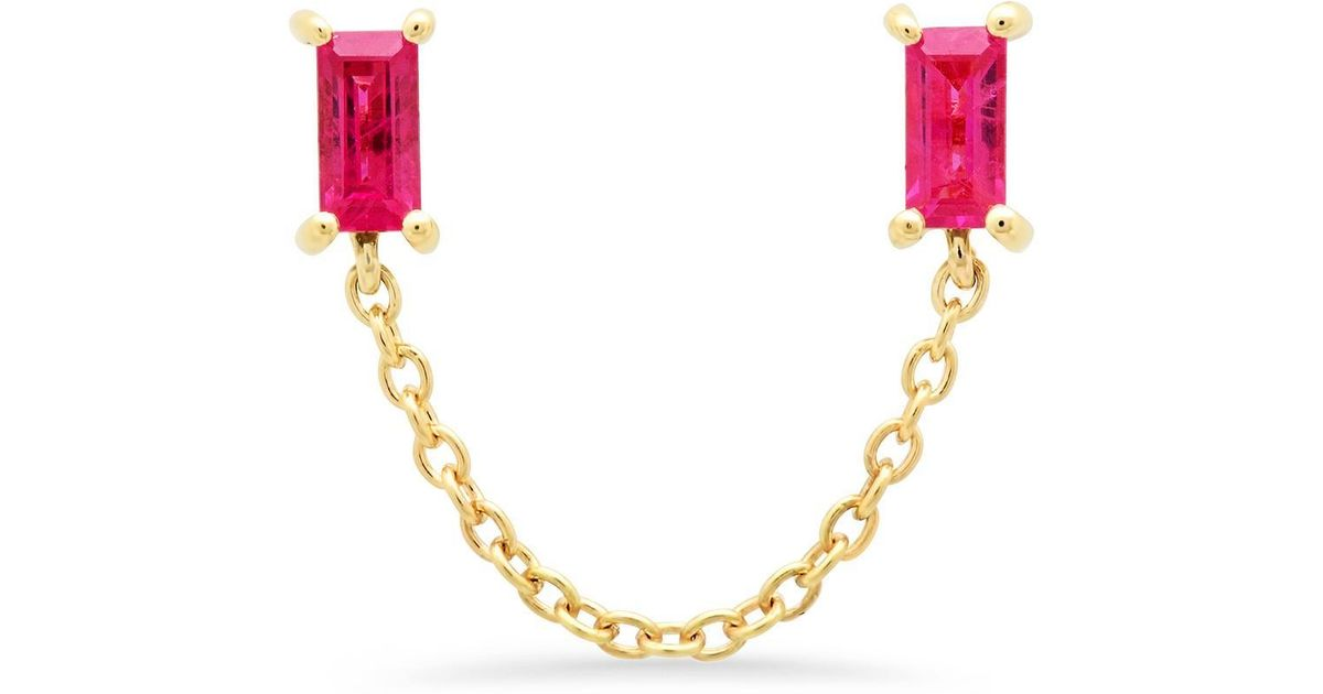91f9f52e2996fe Lyst - Eriness Ruby Baguette Chain Studs in Metallic
