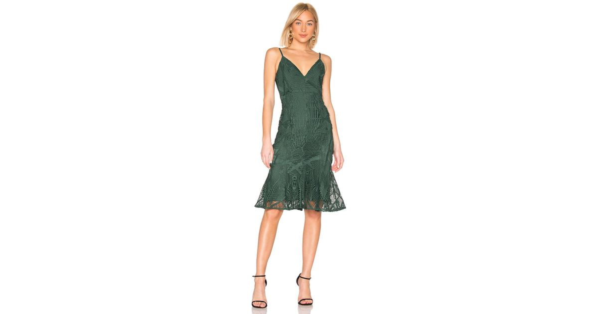 021d2560911b Aijek Love Is Embroidered Fit Flare Dress in Green - Lyst