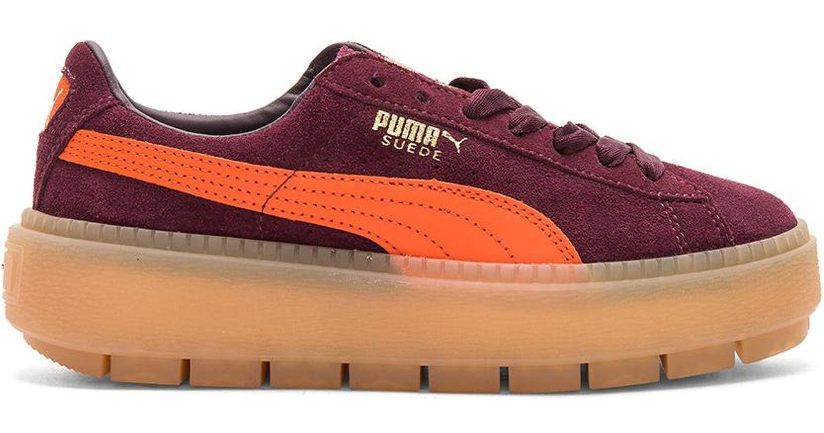 Sneaker Red Trace Lyst Suede Platform Puma Block q0XUdwU