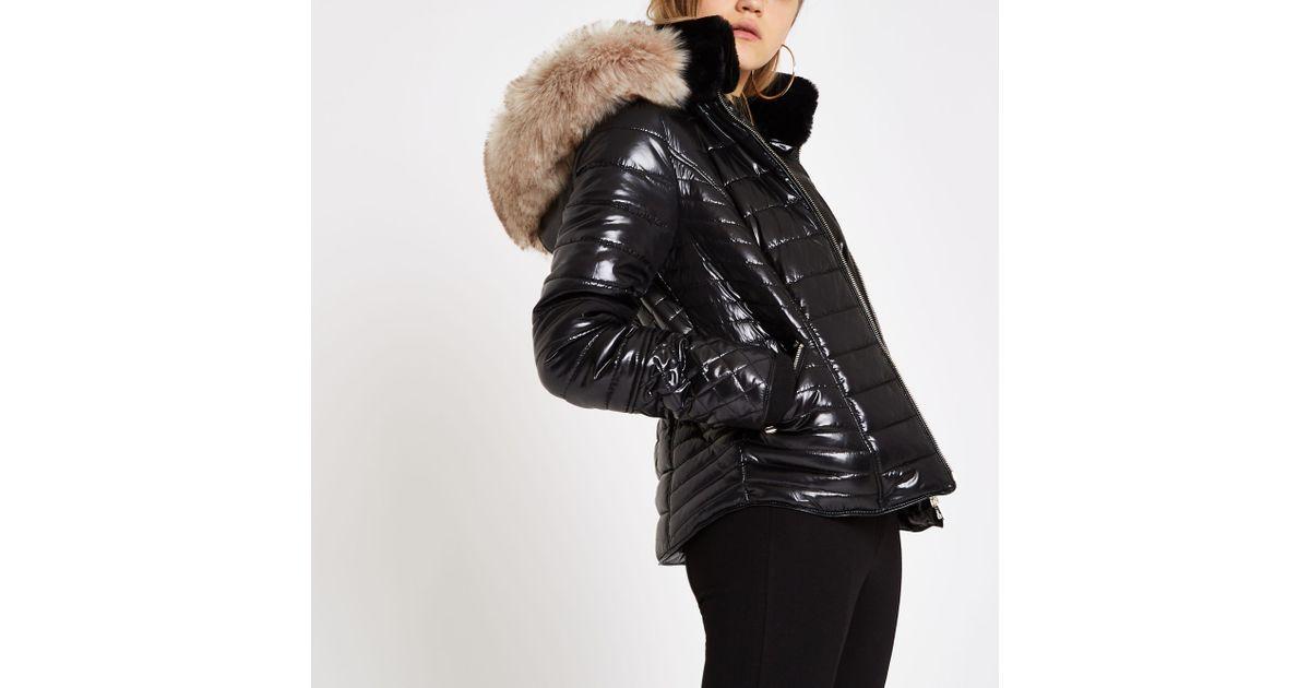 2e8aec2a471 River Island Black Faux Fur Trim High Shine Puffer Jacket
