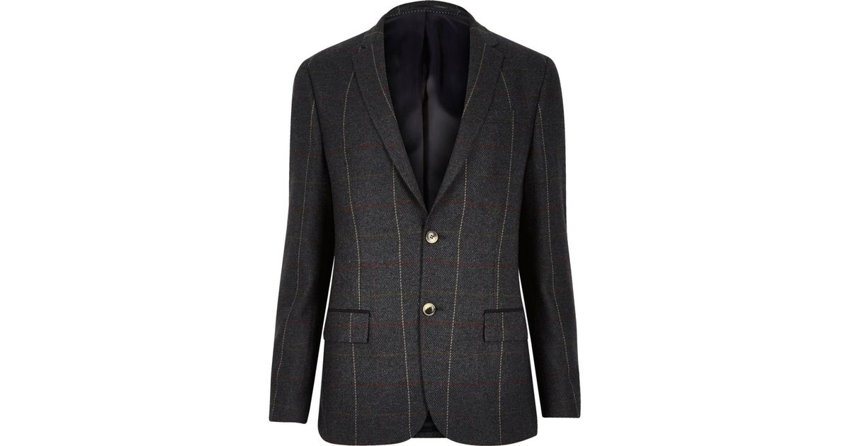 Lyst River Island Dark Green Check Skinny Suit Jacket In Green For Men