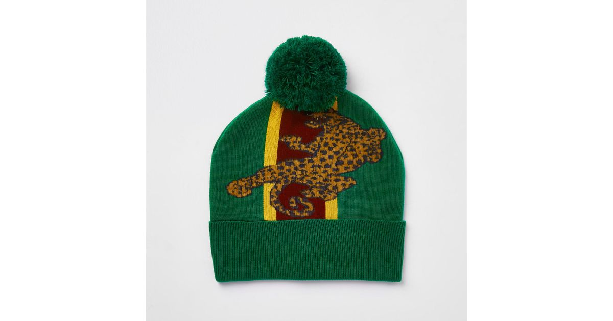5bf78119ed6 River Island Green Leopard Print Bobble Beanie Hat in Green for Men - Lyst