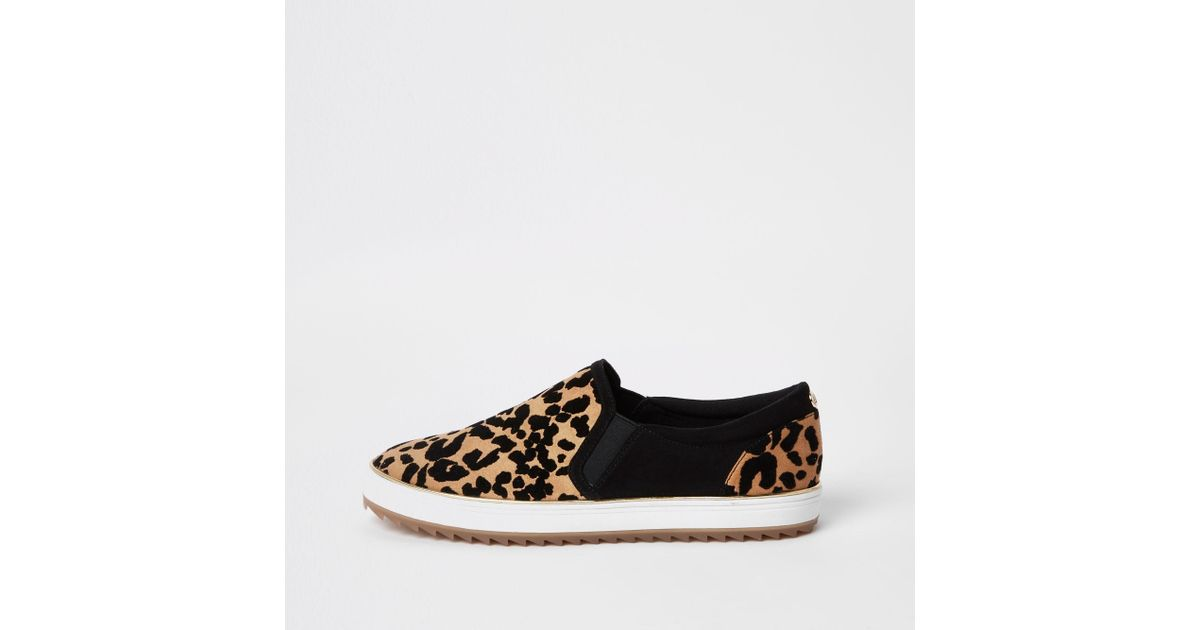 Leopard Print Slip On Trainers in Brown