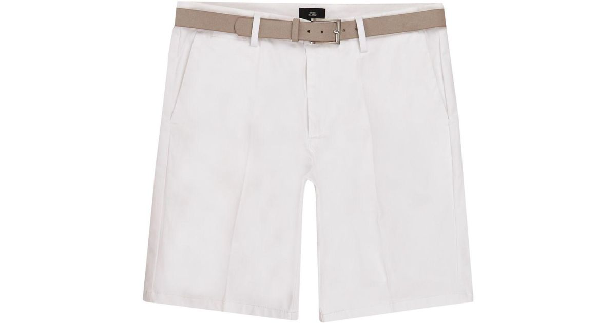 Mens Big and Tall White belted chino shorts River Island OVR85u