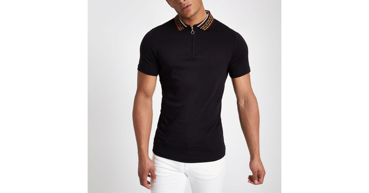 d851970c River Island Baroque Collar Muscle Fit Polo Shirt in Black for Men - Lyst