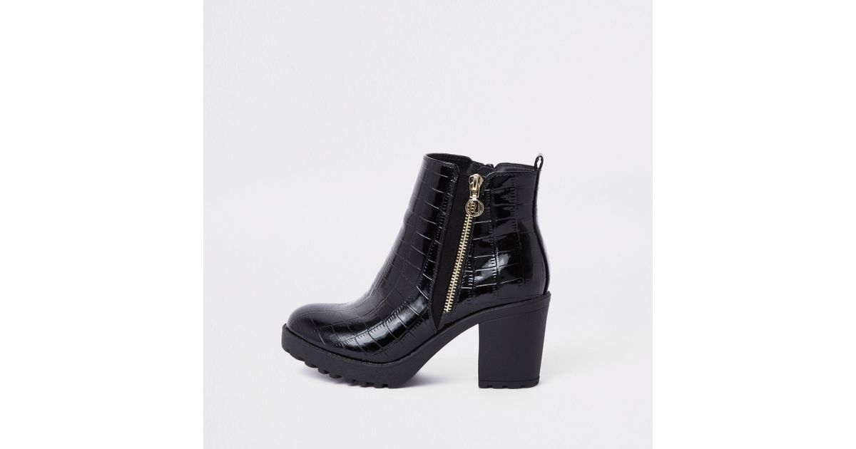 e0796100604 River Island Black Chunky Croc Embossed Ankle Boots