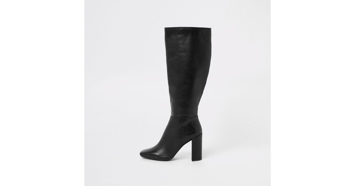 cb72df43c97 Lyst - River Island Leather Square Toe Knee High Boots in Black