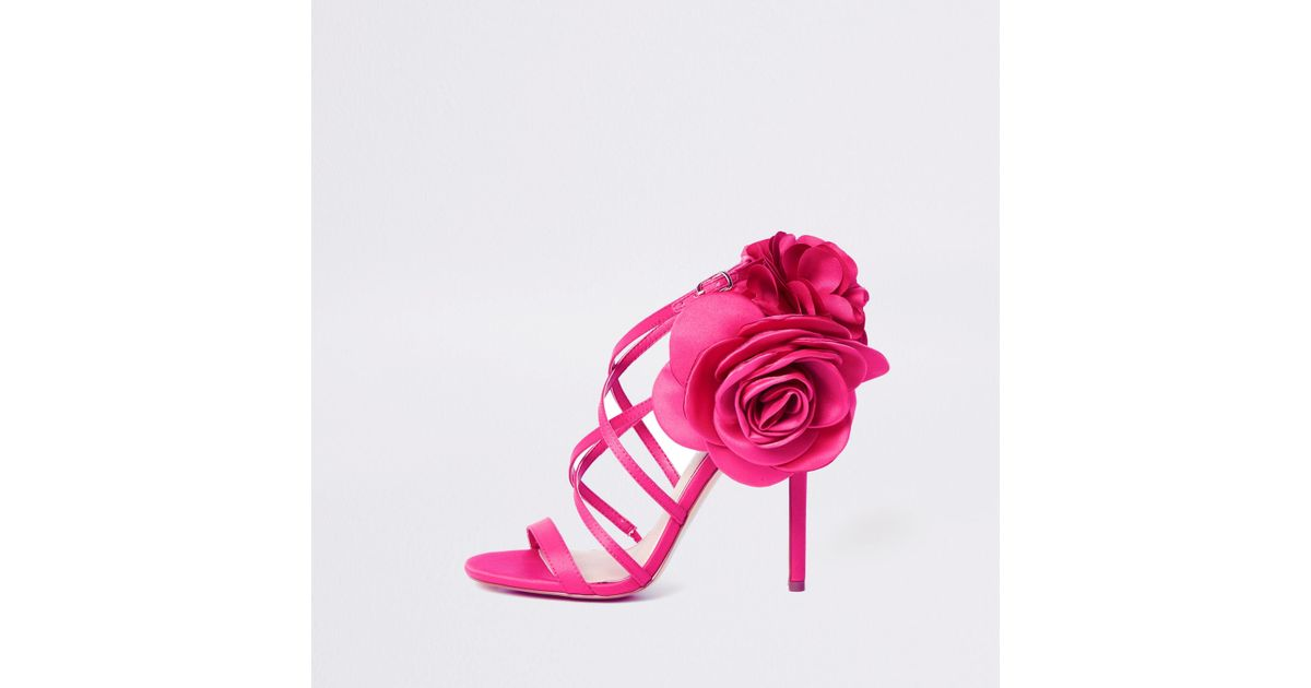 Lyst river island pink flower strappy stiletto heel sandals in pink mightylinksfo