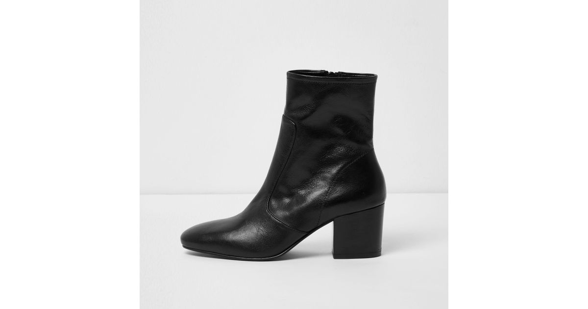 River Island Black Leather Sock Block
