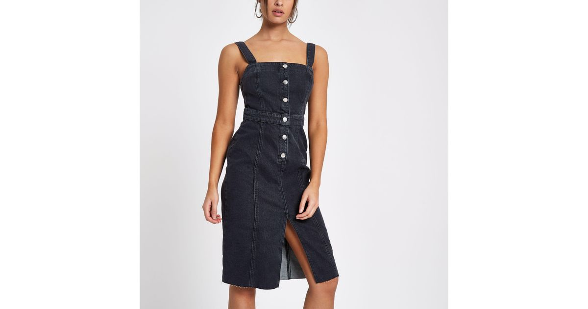 a6a2d83c71 Lyst - River Island Fitted Button Through Denim Midi Dress in Black
