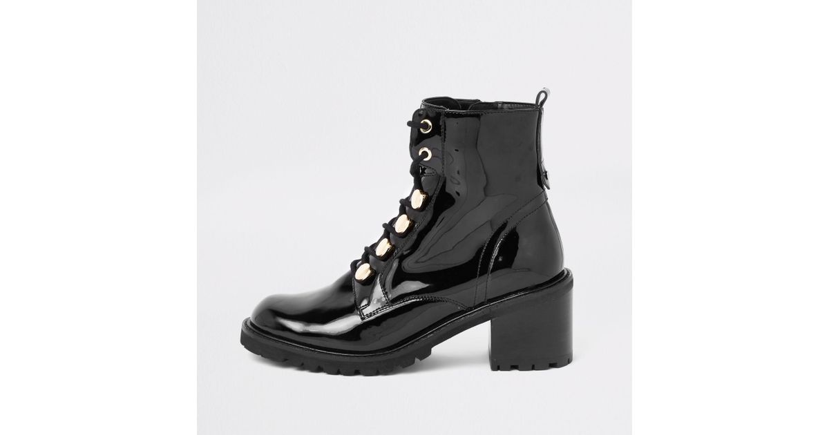 Black Patent Lace-up Chunky Boots - Lyst