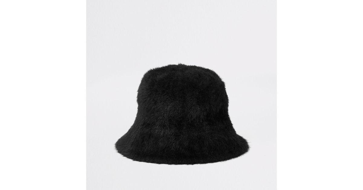 River Island Black Fluffy Bucket Hat Lyst
