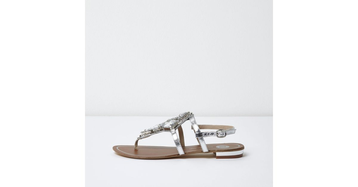 c368157205ff91 Lyst - River Island Silver Metallic Embellished Flat Sandals in Gray