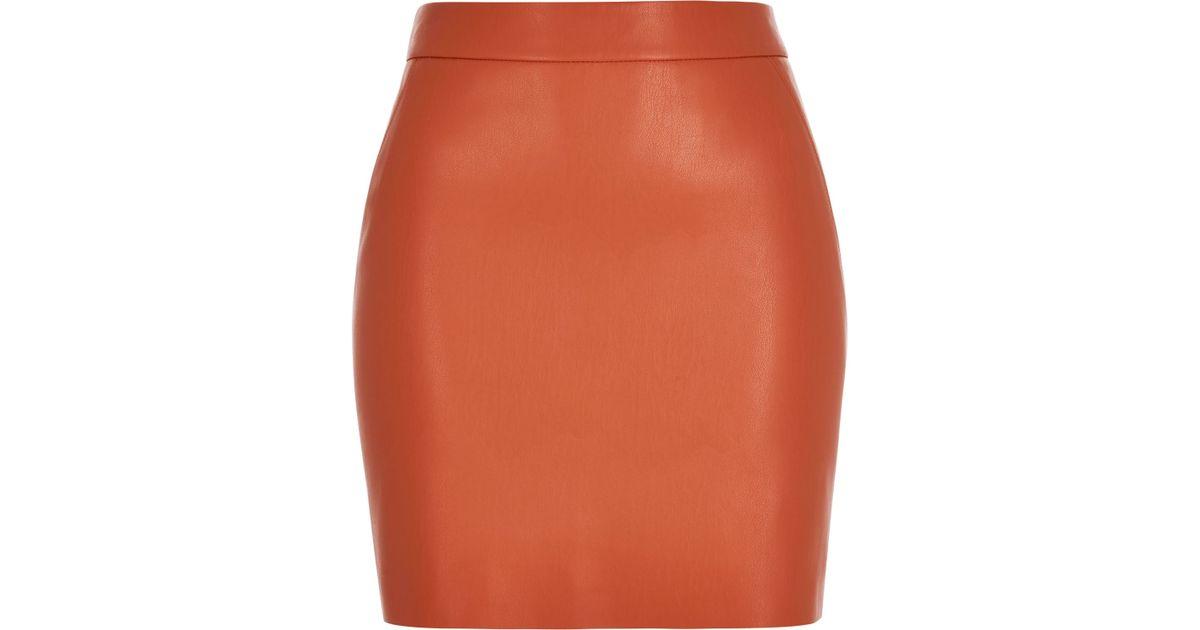 river island orange leather look mini skirt in orange lyst