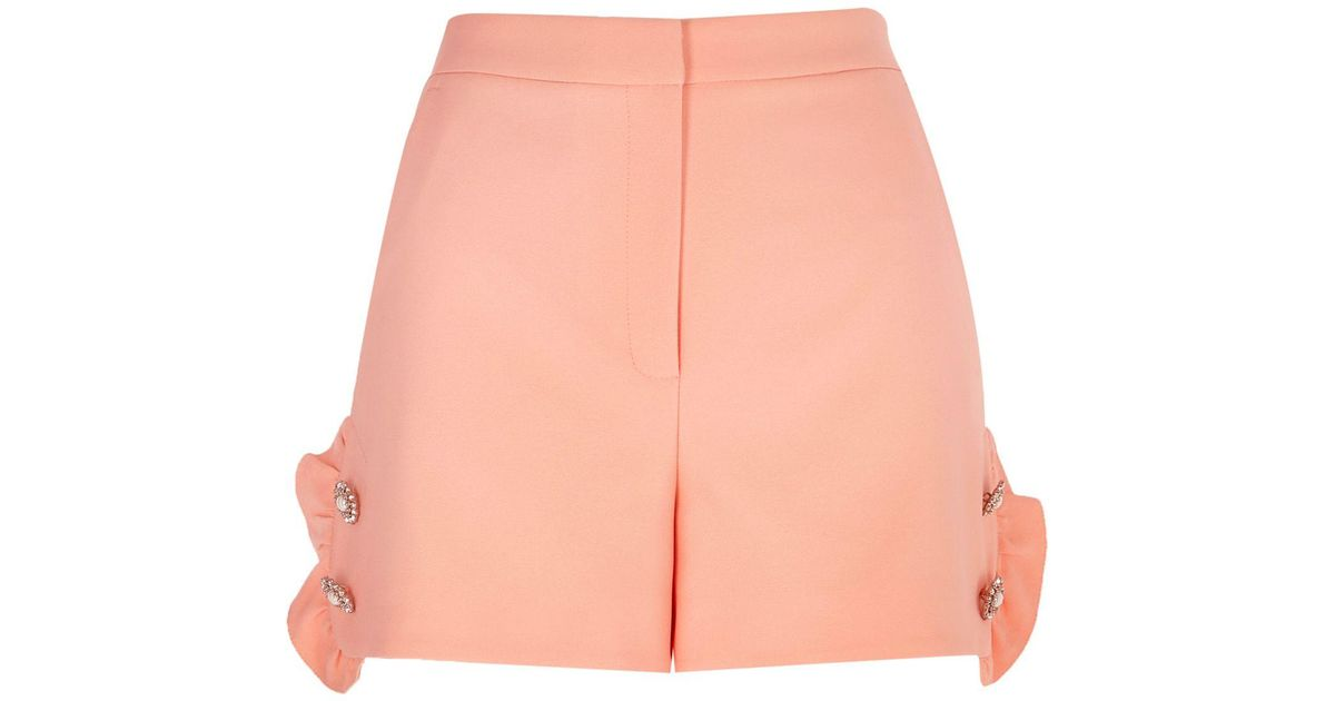 Outlet Nicekicks Womens Pink diamante pearl embellished frill shorts River Island Big Discount Sale Online WLeF7