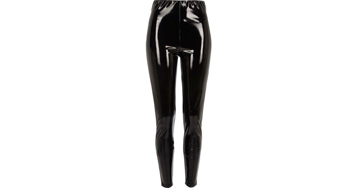 4da29dec0126b3 River Island Black Vinyl High Waisted Skinny Trousers in Black - Lyst