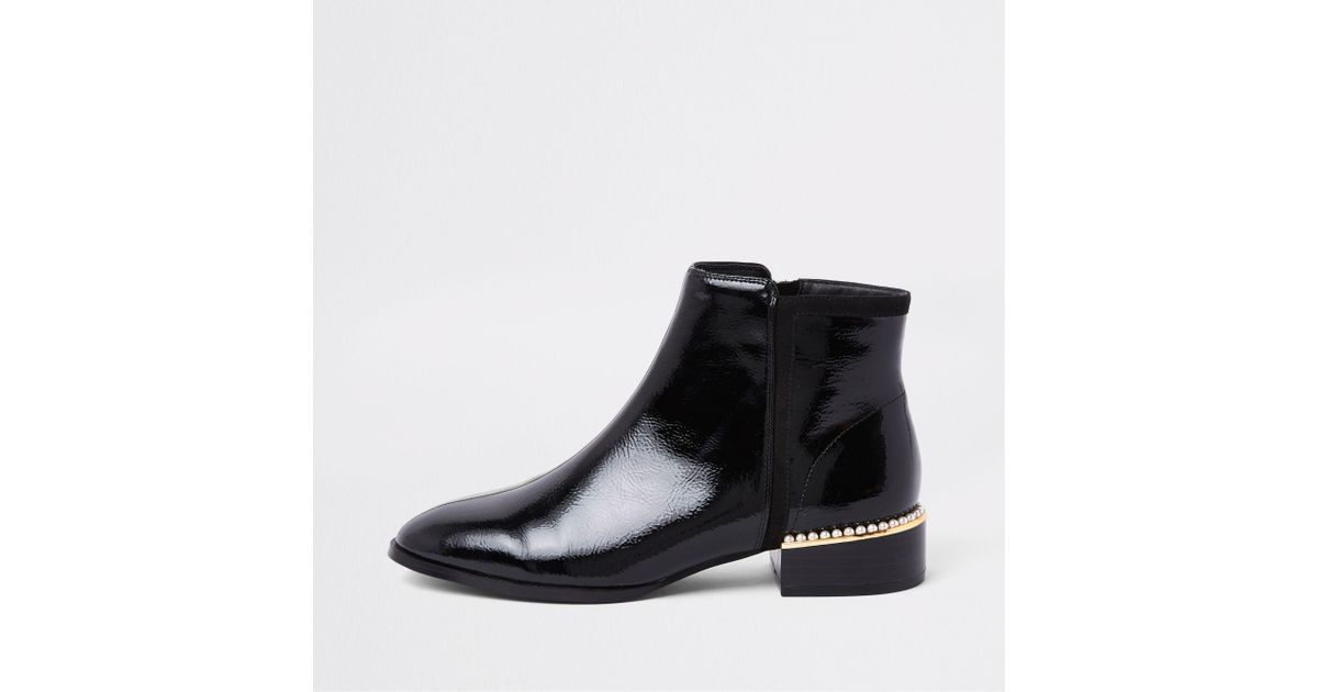River Island Black Patent Leather Pearl
