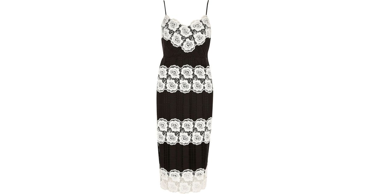 Lyst River Island Black And White Lace Bodycon Dress In Black