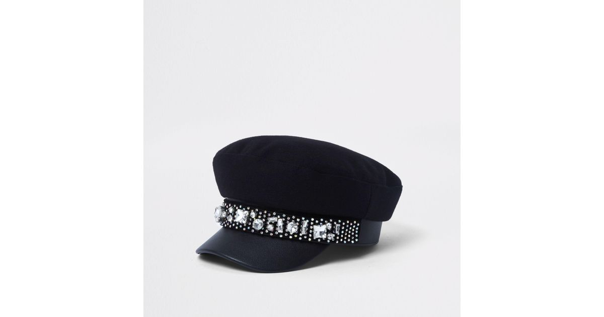 River Island Black Jewel Embellished Baker Boy Hat in Black - Lyst 6108fc804d47