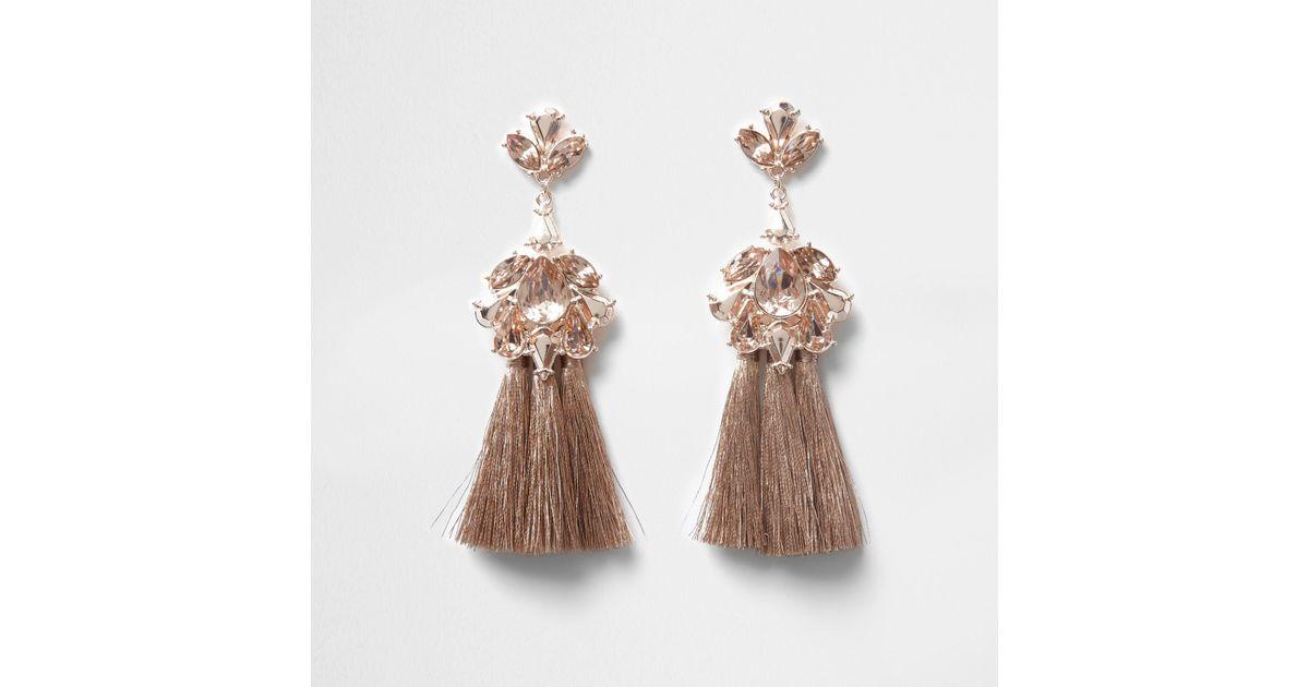 702e3e69b5ea7 River Island Orange Rose Gold Tone Jewel Tassel Drop Earrings