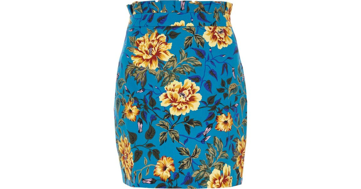 River Island Blue Floral Print Paperbag Mini Skirt In Blue | Lyst