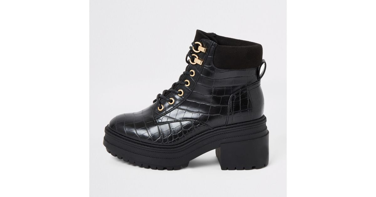 Croc Lace-up Chunky Boots - Lyst