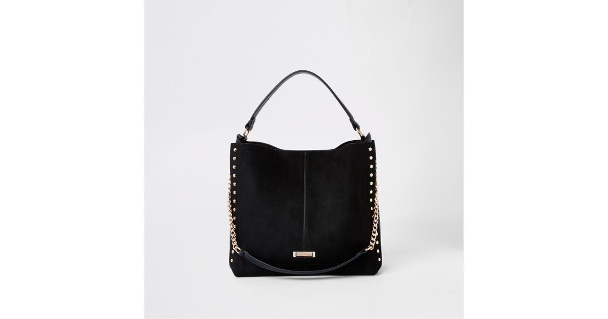 River Island Studded Side Slouch Bag In