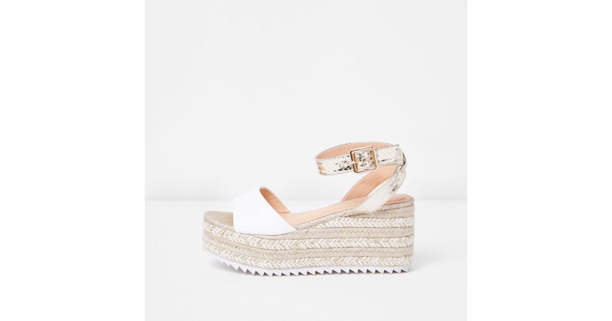 4b3f9471040 River Island Metallic Gold Two Part Espadrille Wedge Sandals