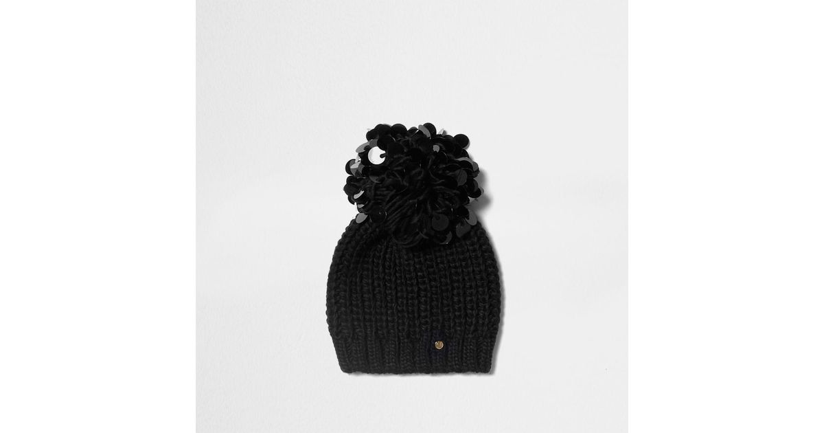 Lyst - River Island Black Sequin Pom Pom Beanie Hat in Black d6be6853f7f