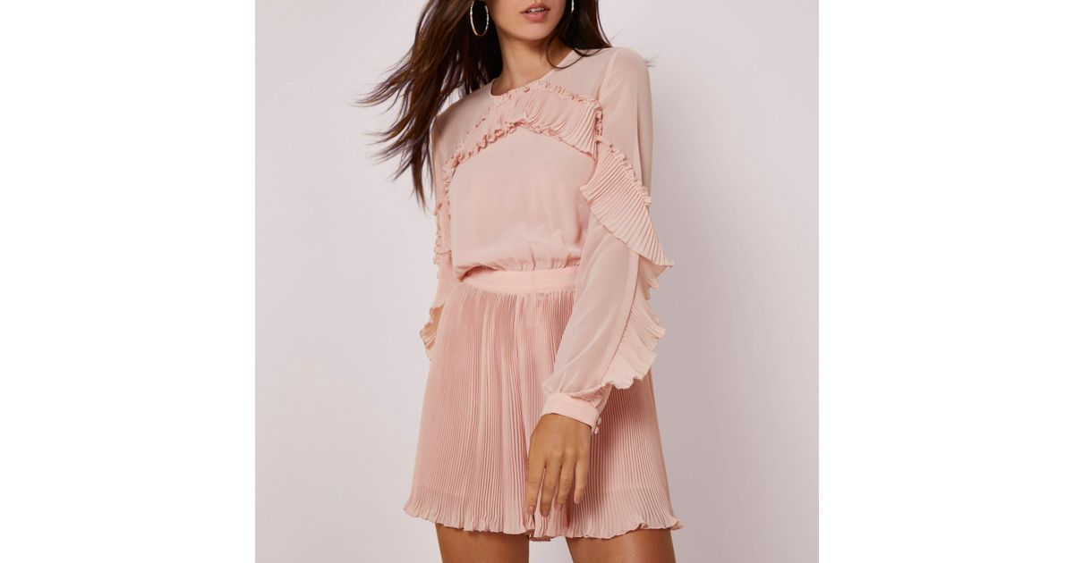 9932b0c396 River Island Light Pink Long Sleeve Pleated Frill Playsuit in Pink - Lyst